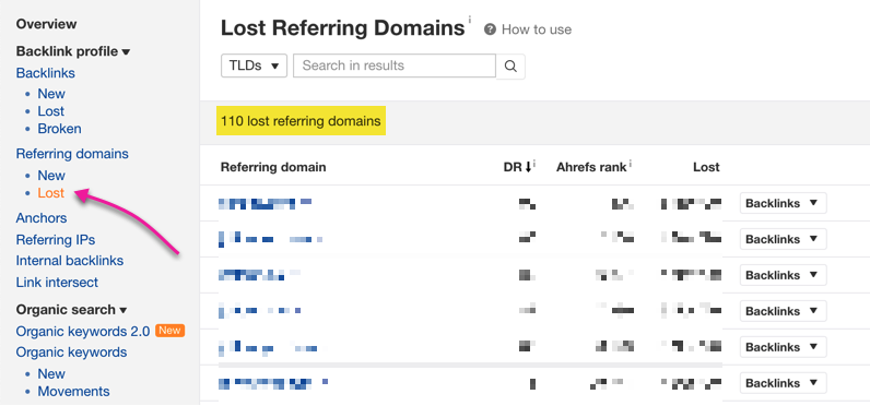 ahrefs lost referring domains
