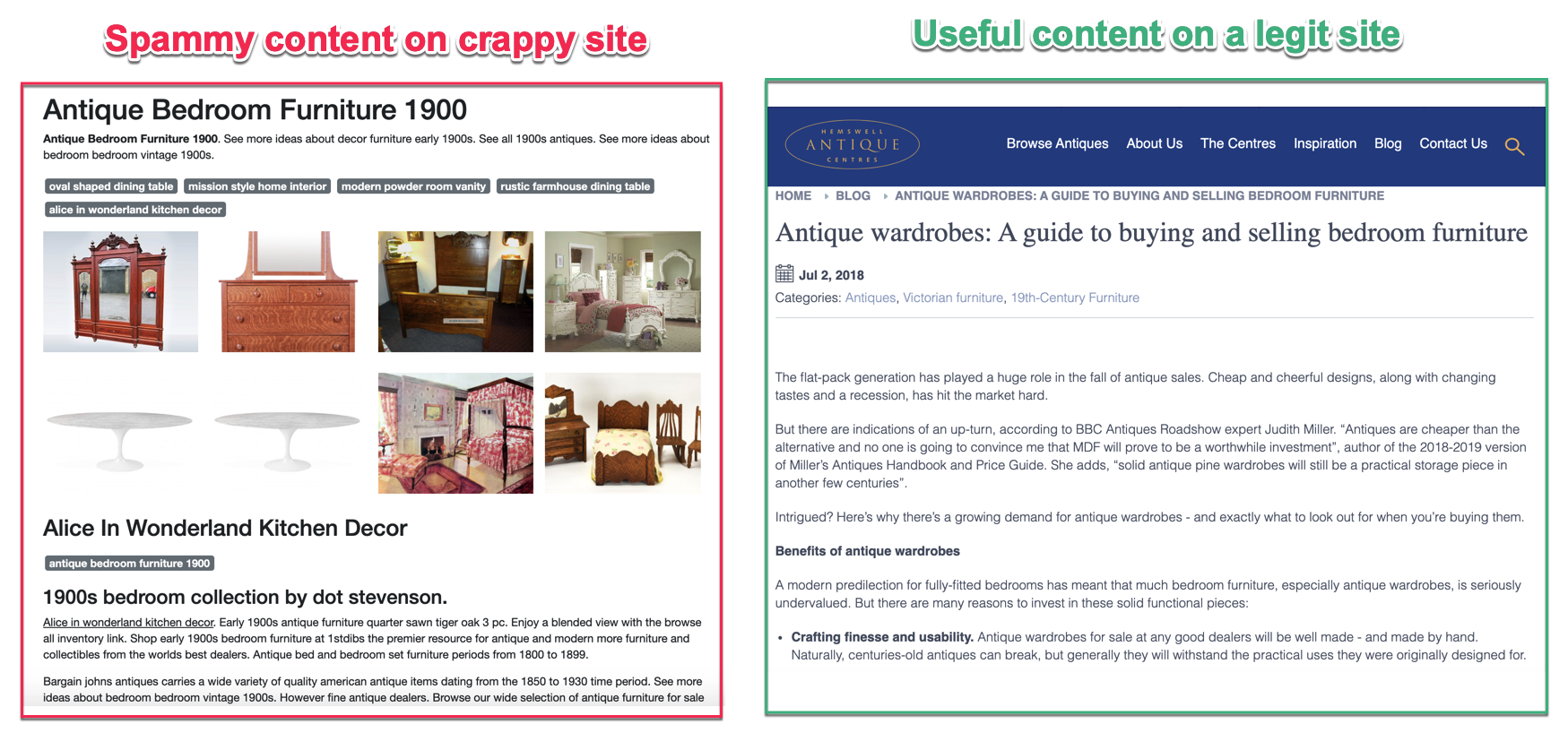 spammy site vs quality site